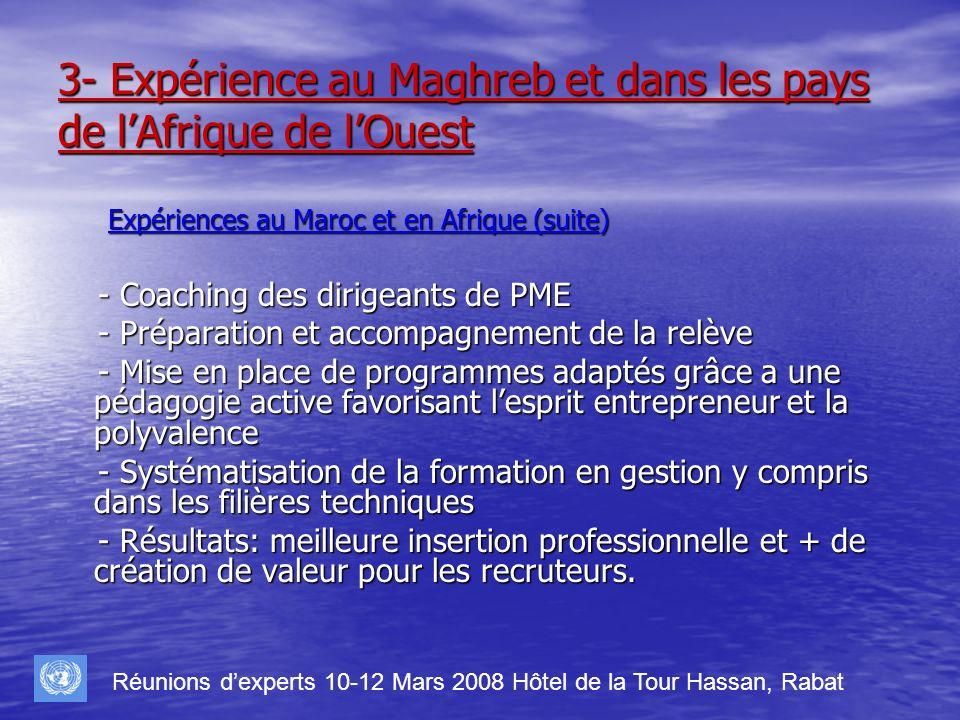 3- Expérience au Maghreb et dans les pays de lAfrique de lOuest Expériences au Maroc et en Afrique (suite) Expériences au Maroc et en Afrique (suite)