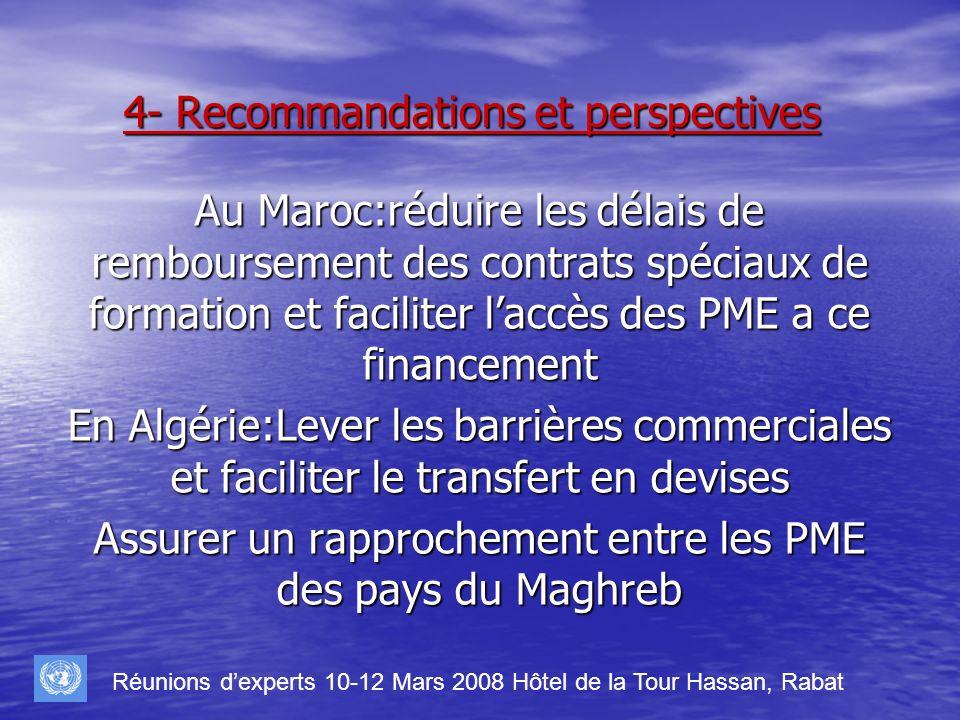 4- Recommandations et perspectives Au Maroc:réduire les délais de remboursement des contrats spéciaux de formation et faciliter laccès des PME a ce fi