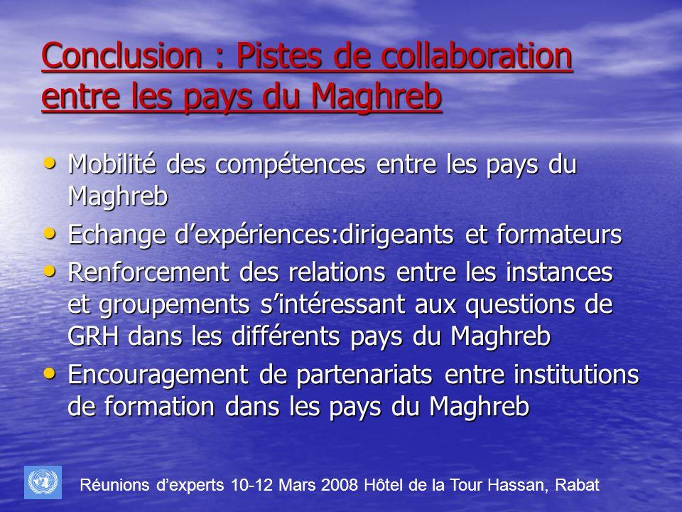 Conclusion : Pistes de collaboration entre les pays du Maghreb Mobilité des compétences entre les pays du Maghreb Mobilité des compétences entre les p