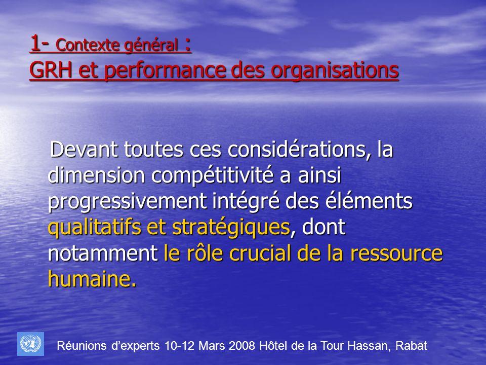1- Contexte général : GRH et performance des organisations Pour illustrer ce constat nous nous referons à la vision de BARNEY (1991) partagée par plusieurs penseurs qui stipule que pour avoir le potentiel de procurer un avantage concurrentiel durable, une ressource doit rencontrer quatre caractéristiques : Pour illustrer ce constat nous nous referons à la vision de BARNEY (1991) partagée par plusieurs penseurs qui stipule que pour avoir le potentiel de procurer un avantage concurrentiel durable, une ressource doit rencontrer quatre caractéristiques : Elle doit ajouter de la valeur à lentreprise, cest-à-dire quelle peut servir à saisir des opportunités et/ou à neutraliser des menaces qui se manifestent dans lenvironnement ; Elle doit ajouter de la valeur à lentreprise, cest-à-dire quelle peut servir à saisir des opportunités et/ou à neutraliser des menaces qui se manifestent dans lenvironnement ; Elle doit être rare, cest-à-dire que la ressource doit être unique ou distinctive parmi les concurrents actuels ou potentiels de lentreprise ; Elle doit être rare, cest-à-dire que la ressource doit être unique ou distinctive parmi les concurrents actuels ou potentiels de lentreprise ; Elle doit être imparfaitement imitable, cest-à-dire quelle ne peut être imitée aisément et complètement par les entreprises qui ne la détiennent pas ; Elle doit être imparfaitement imitable, cest-à-dire quelle ne peut être imitée aisément et complètement par les entreprises qui ne la détiennent pas ; Elle ne peut être substituée par aucune autre ressource équivalente au plan de la stratégie.