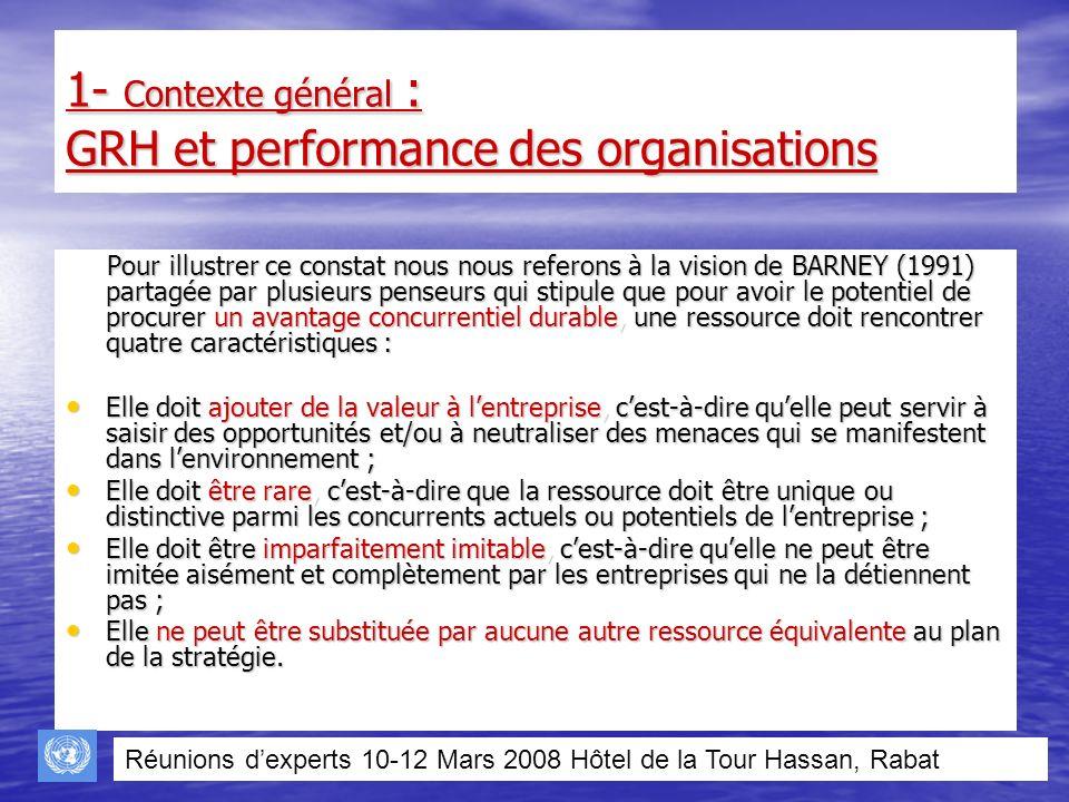 1- Contexte général : GRH et performance des organisations Pour illustrer ce constat nous nous referons à la vision de BARNEY (1991) partagée par plus