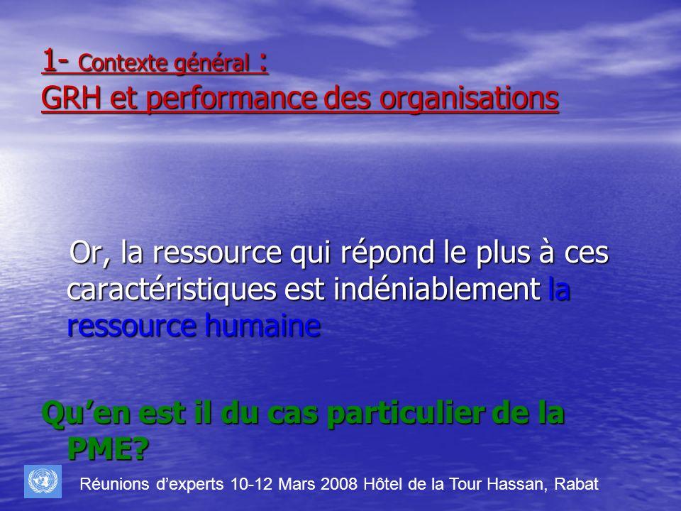 1- Contexte général : GRH et performance des organisations Or, la ressource qui répond le plus à ces caractéristiques est indéniablement la ressource