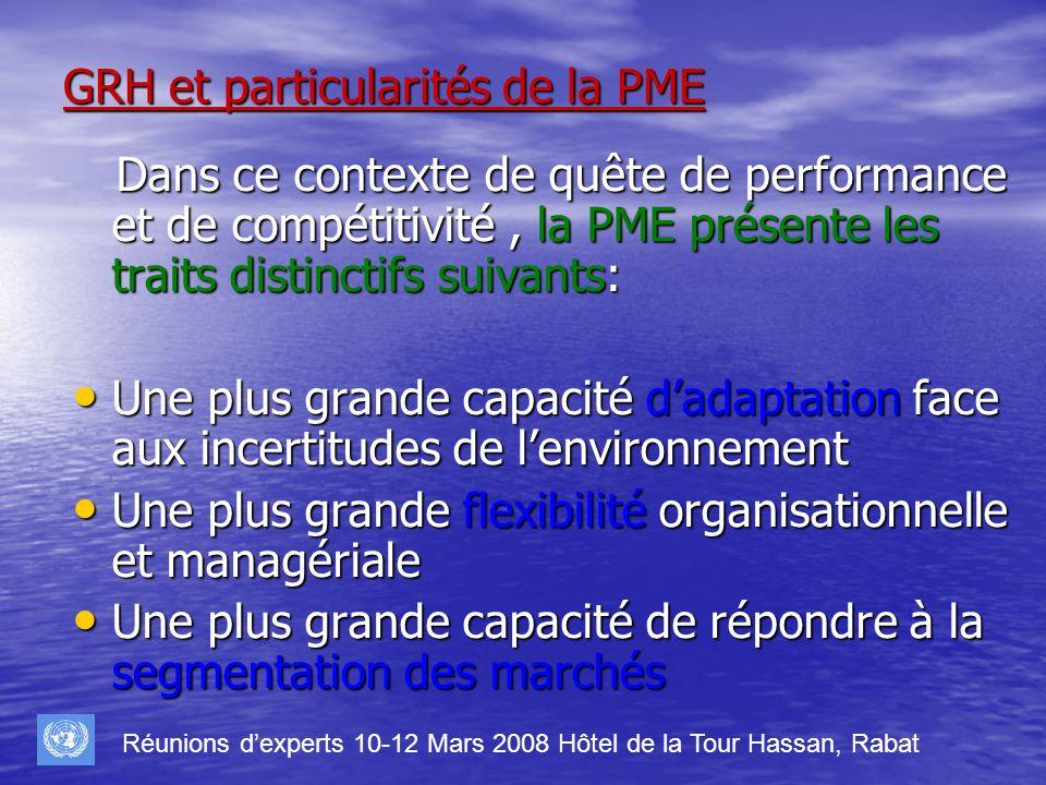 GRH et particularités de la PME Dans ce contexte de quête de performance et de compétitivité, la PME présente les traits distinctifs suivants: Dans ce