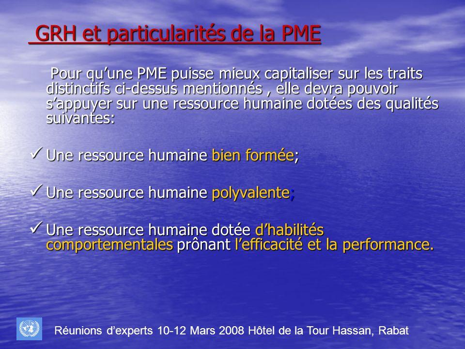 GRH et particularités de la PME GRH et particularités de la PME Pour quune PME puisse mieux capitaliser sur les traits distinctifs ci-dessus mentionné