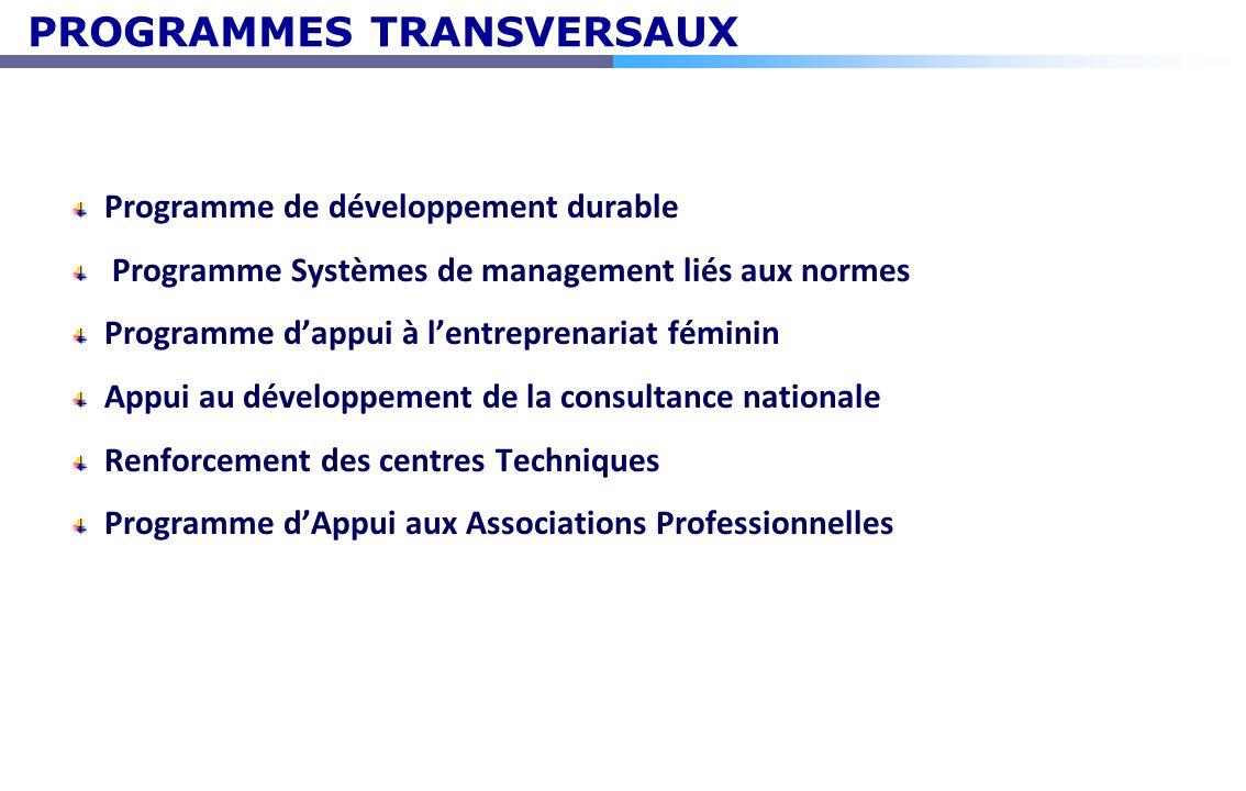 PROGRAMMES TRANSVERSAUX Programme de développement durable Programme Systèmes de management liés aux normes Programme dappui à lentreprenariat féminin