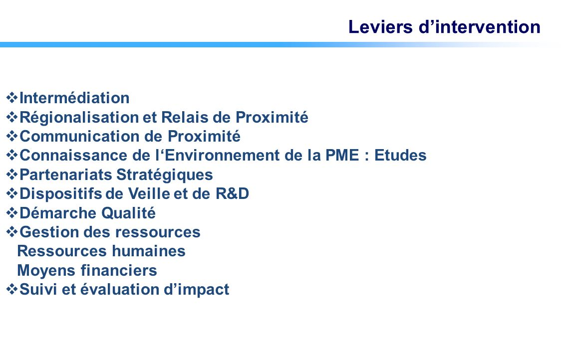 Intermédiation Régionalisation et Relais de Proximité Communication de Proximité Connaissance de lEnvironnement de la PME : Etudes Partenariats Straté