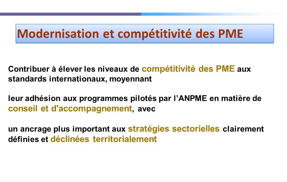 Contribuer à élever les niveaux de compétitivité des PME aux standards internationaux, moyennant leur adhésion aux programmes pilotés par lANPME en ma