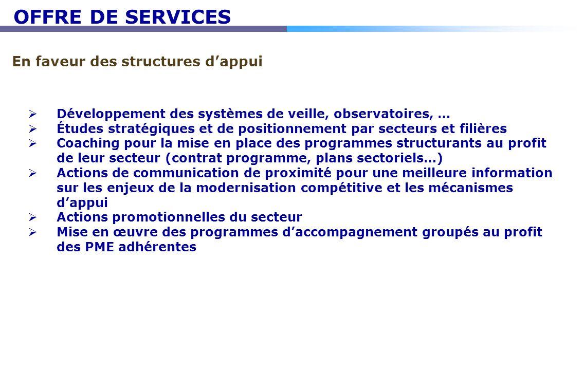 En faveur des structures dappui Développement des systèmes de veille, observatoires, … Études stratégiques et de positionnement par secteurs et filièr