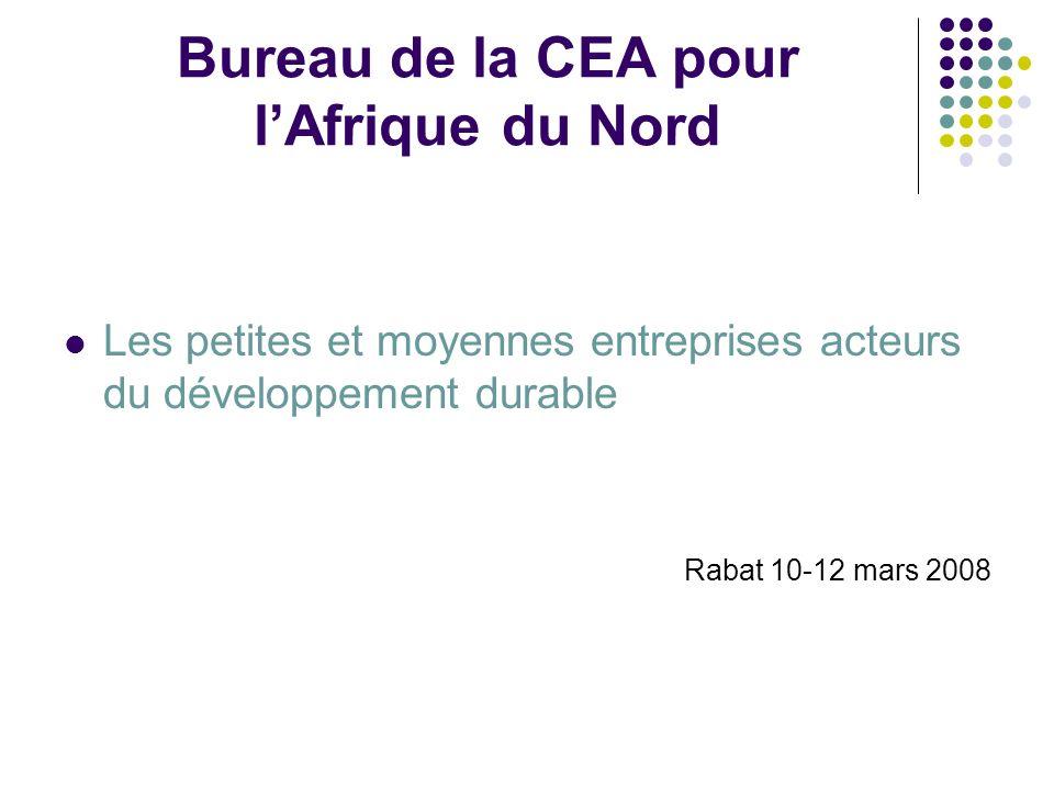 Bureau de la CEA pour lAfrique du Nord Les petites et moyennes entreprises acteurs du développement durable Rabat 10-12 mars 2008