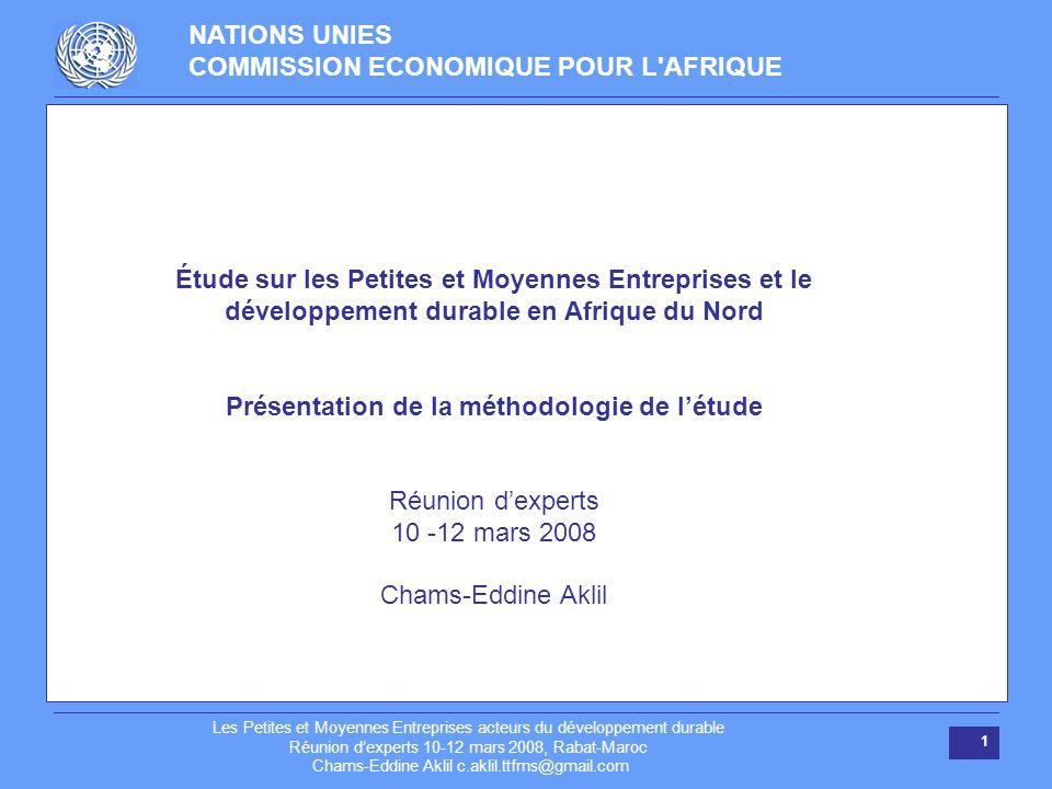 NATIONS UNIES COMMISSION ECONOMIQUE POUR L'AFRIQUE Les Petites et Moyennes Entreprises acteurs du développement durable Réunion dexperts 10-12 mars 20