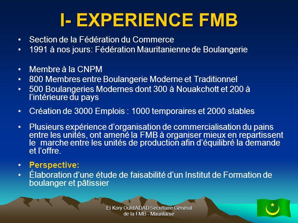 El Kory Ould ADAD Secrétaire Général de la FMB - Mauritanie4 I- EXPERIENCE FMB Section de la Fédération du Commerce 1991 à nos jours: Fédération Mauri