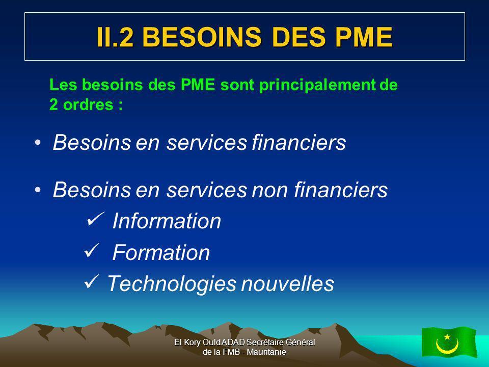 El Kory Ould ADAD Secrétaire Général de la FMB - Mauritanie8 II.2 POLITIQUES EN FAVEUR DE LA PME CLSP : Cadre de référence Cadre intégré : pour le commerce extérieur Politiques et stratégies sectorielles Stratégie nationale de Promotion de la Micro et Petite Entreprise (SNPMPE) et PNIME Délégation Générale pour la promotion de linvestissement privé Amélioration de la qualité de la production, Effort de modernisation de loutil de production, Investissement dans la formation et pour lacquisition linformation,