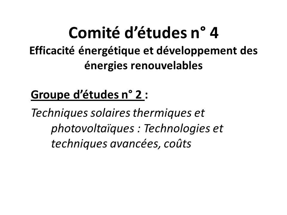 Comité détudes n° 4 Efficacité énergétique et développement des énergies renouvelables Groupe détudes n° 2 : Techniques solaires thermiques et photovoltaïques : Technologies et techniques avancées, coûts