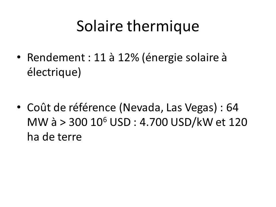 Solaire thermique Rendement : 11 à 12% (énergie solaire à électrique) Coût de référence (Nevada, Las Vegas) : 64 MW à > 300 10 6 USD : 4.700 USD/kW et 120 ha de terre