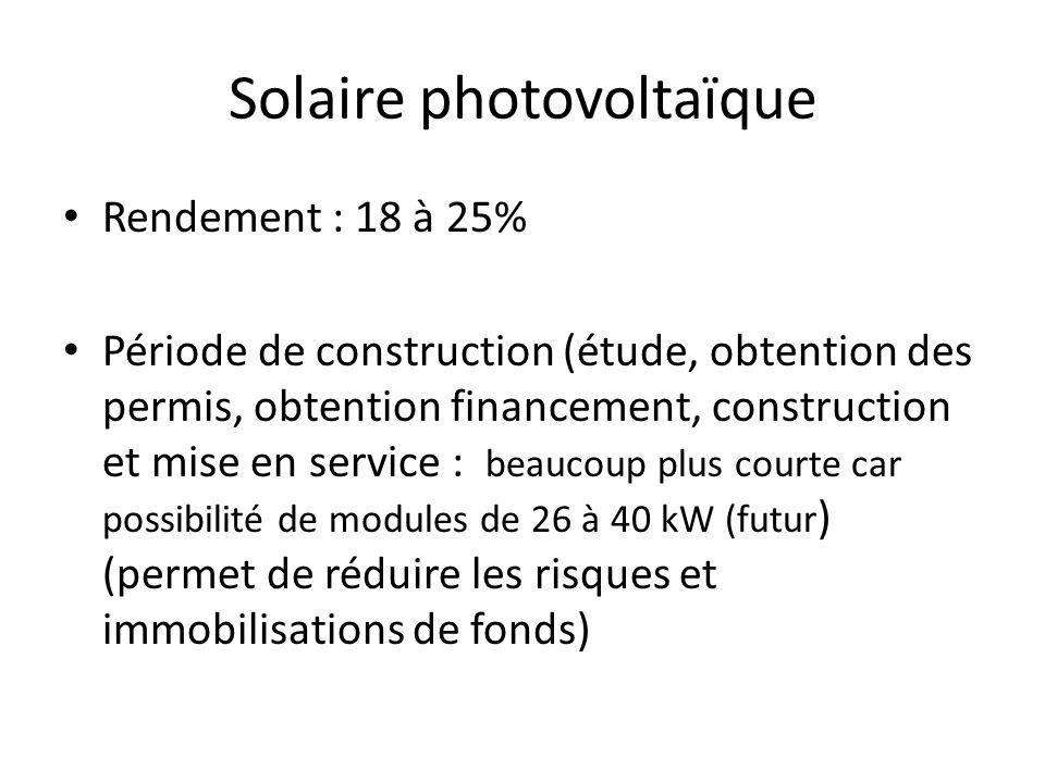 Solaire photovoltaïque Rendement : 18 à 25% Période de construction (étude, obtention des permis, obtention financement, construction et mise en service : beaucoup plus courte car possibilité de modules de 26 à 40 kW (futur ) (permet de réduire les risques et immobilisations de fonds)