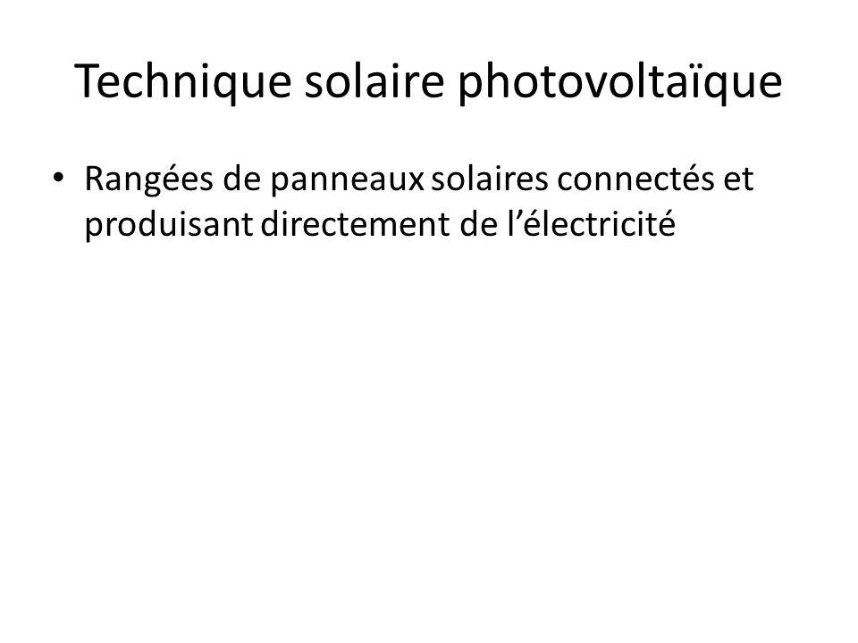 Technique solaire photovoltaïque Rangées de panneaux solaires connectés et produisant directement de lélectricité