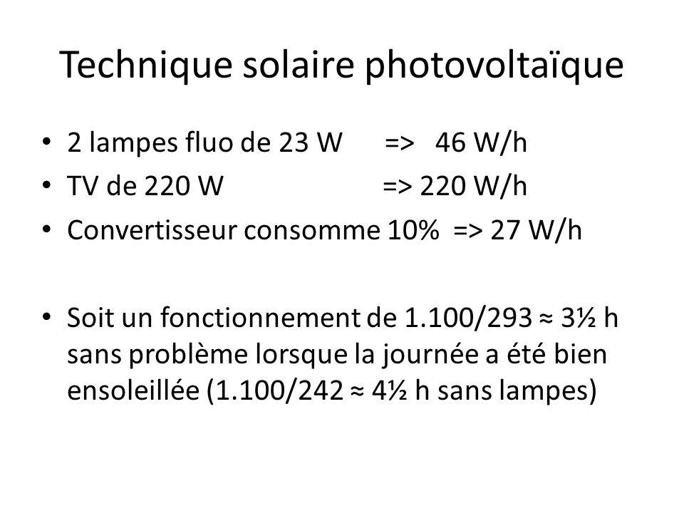 Technique solaire photovoltaïque 2 lampes fluo de 23 W => 46 W/h TV de 220 W => 220 W/h Convertisseur consomme 10% => 27 W/h Soit un fonctionnement de 1.100/293 3½ h sans problème lorsque la journée a été bien ensoleillée (1.100/242 4½ h sans lampes)