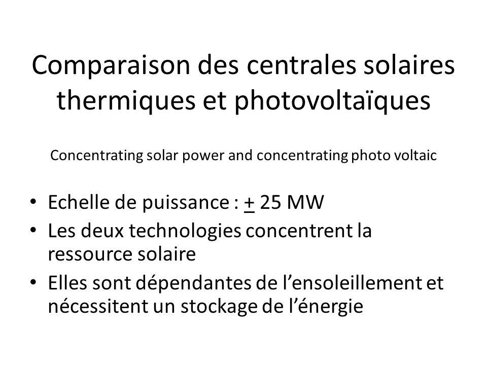 Comparaison des centrales solaires thermiques et photovoltaïques Concentrating solar power and concentrating photo voltaic Echelle de puissance : + 25 MW Les deux technologies concentrent la ressource solaire Elles sont dépendantes de lensoleillement et nécessitent un stockage de lénergie