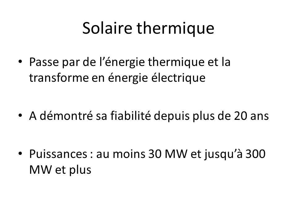 Solaire thermique Passe par de lénergie thermique et la transforme en énergie électrique A démontré sa fiabilité depuis plus de 20 ans Puissances : au moins 30 MW et jusquà 300 MW et plus