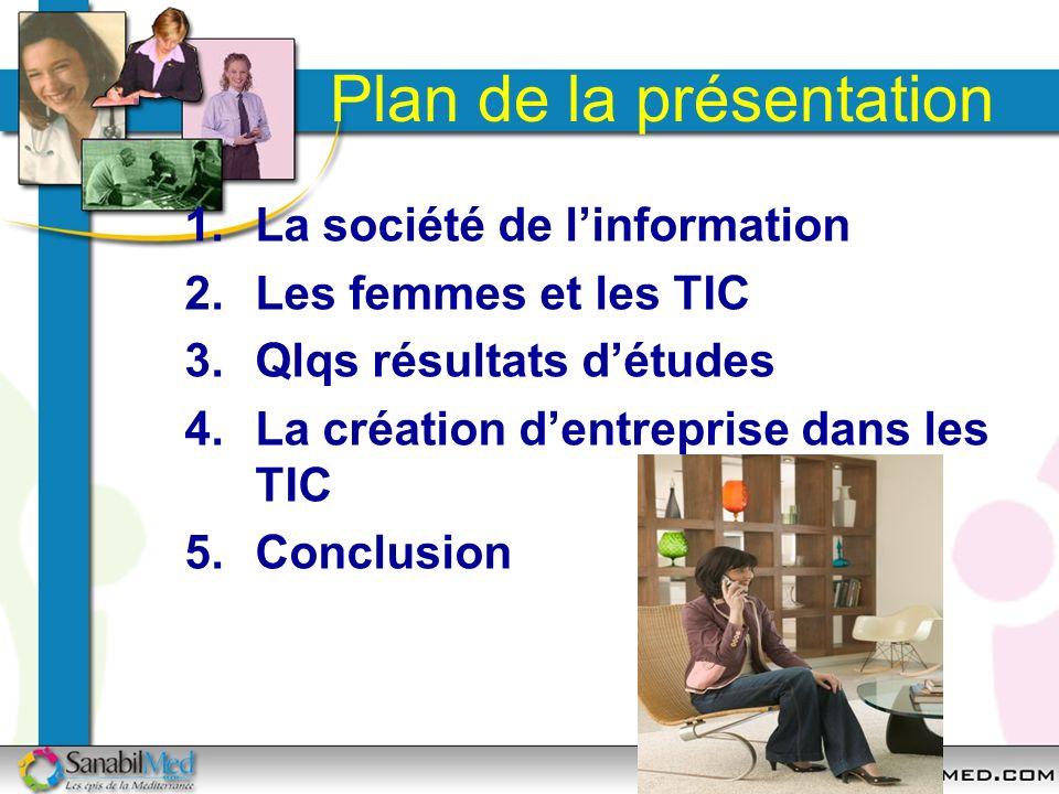 Plan de la présentation 1.La société de linformation 2.Les femmes et les TIC 3.Qlqs résultats détudes 4.La création dentreprise dans les TIC 5.Conclus