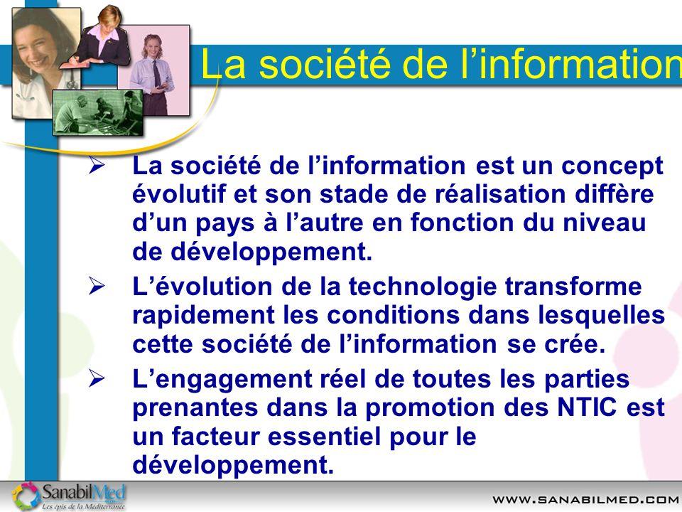 La société de linformation La société de linformation est un concept évolutif et son stade de réalisation diffère dun pays à lautre en fonction du niv