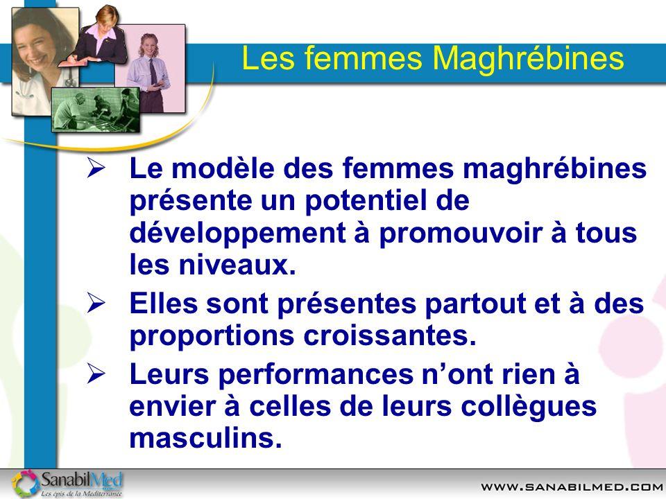 Les femmes Maghrébines Le modèle des femmes maghrébines présente un potentiel de développement à promouvoir à tous les niveaux. Elles sont présentes p