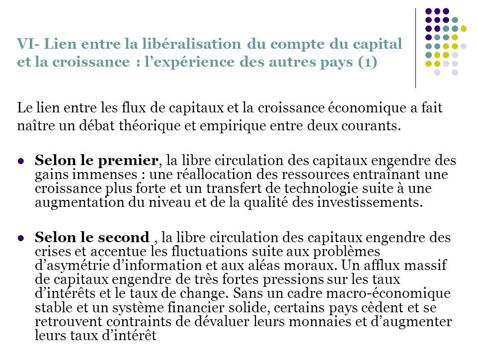 VI- Lien entre la libéralisation du compte du capital et la croissance : lexpérience des autres pays (1) Le lien entre les flux de capitaux et la croi