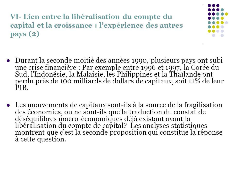 VI- Lien entre la libéralisation du compte du capital et la croissance : lexpérience des autres pays (2) Durant la seconde moitié des années 1990, plu