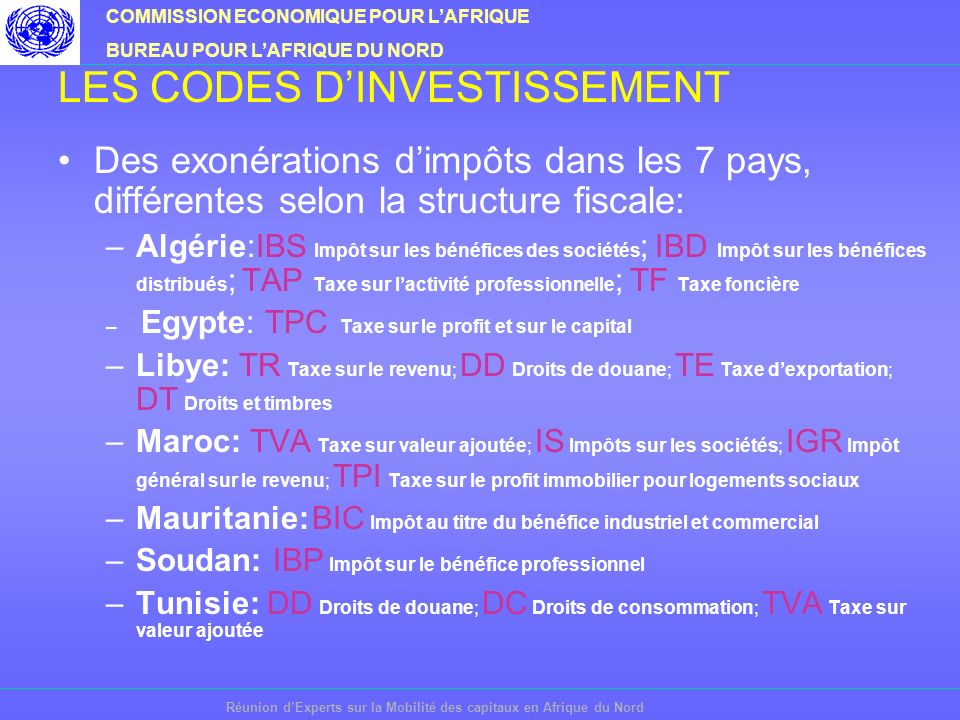 COMMISSION ECONOMIQUE POUR LAFRIQUE BUREAU POUR LAFRIQUE DU NORD Réunion dExperts sur la Mobilité des capitaux en Afrique du Nord LES CODES DINVESTISSEMENT Des exonérations dimpôts dans les 7 pays, différentes selon la structure fiscale: –Algérie:IBS Impôt sur les bénéfices des sociétés ; IBD Impôt sur les bénéfices distribués ; TAP Taxe sur lactivité professionnelle ; TF Taxe foncière – Egypte: TPC Taxe sur le profit et sur le capital –Libye: TR Taxe sur le revenu; DD Droits de douane; TE Taxe dexportation; DT Droits et timbres –Maroc: TVA Taxe sur valeur ajoutée; IS Impôts sur les sociétés; IGR Impôt général sur le revenu; TPI Taxe sur le profit immobilier pour logements sociaux –Mauritanie: BIC Impôt au titre du bénéfice industriel et commercial –Soudan: IBP Impôt sur le bénéfice professionnel –Tunisie: DD Droits de douane; DC Droits de consommation; TVA Taxe sur valeur ajoutée