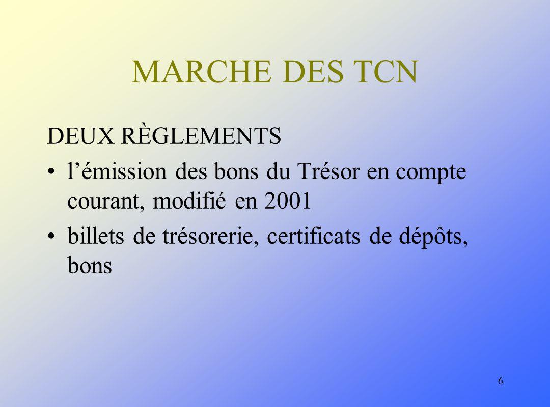 6 MARCHE DES TCN DEUX RÈGLEMENTS lémission des bons du Trésor en compte courant, modifié en 2001 billets de trésorerie, certificats de dépôts, bons