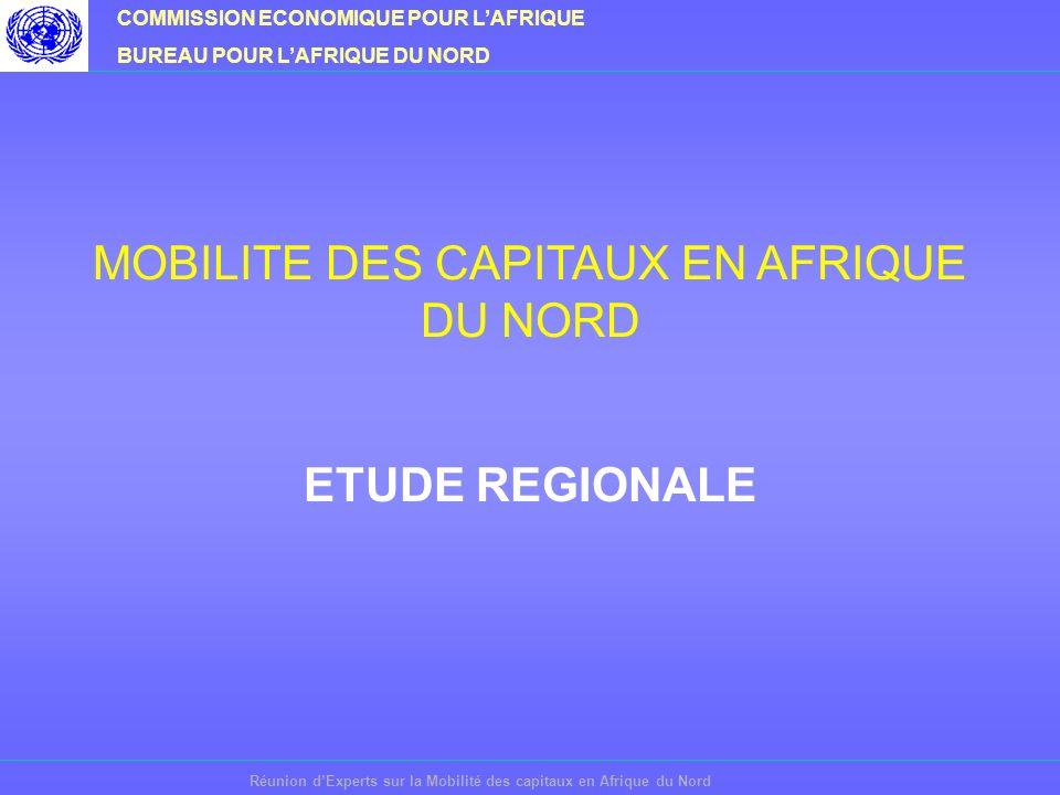 COMMISSION ECONOMIQUE POUR LAFRIQUE BUREAU POUR LAFRIQUE DU NORD Réunion dExperts sur la Mobilité des capitaux en Afrique du Nord MOBILITE DES CAPITAUX EN AFRIQUE DU NORD ETUDE REGIONALE