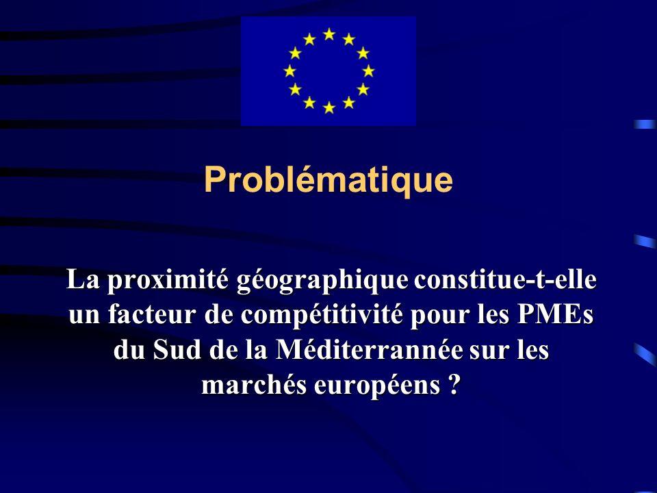 Problématique La proximité géographique constitue-t-elle un facteur de compétitivité pour les PMEs du Sud de la Méditerrannée sur les marchés européen