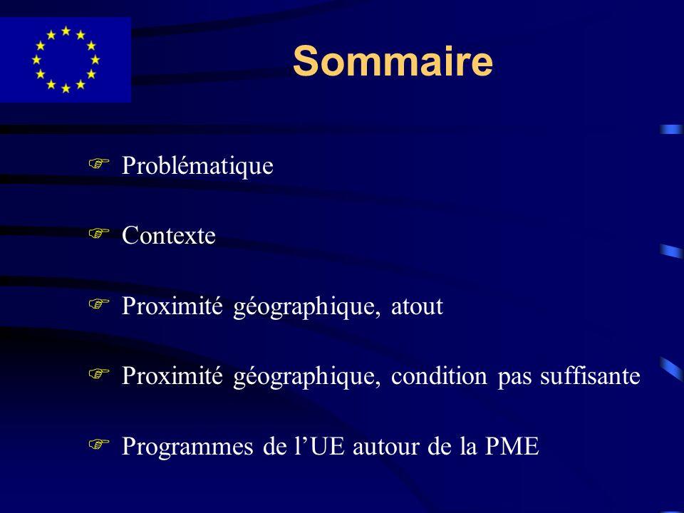 Sommaire FProblématique FContexte FProximité géographique, atout FProximité géographique, condition pas suffisante FProgrammes de lUE autour de la PME