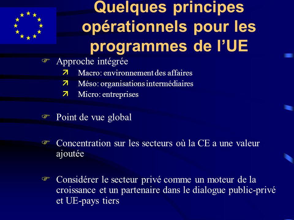 Quelques principes opérationnels pour les programmes de lUE FApproche intégrée äMacro: environnement des affaires äMéso: organisations intermédiaires