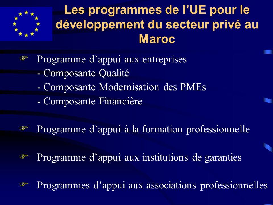Les programmes de lUE pour le développement du secteur privé au Maroc FProgramme dappui aux entreprises - Composante Qualité - Composante Modernisatio