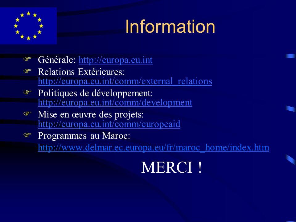Information FGénérale: http://europa.eu.inthttp://europa.eu.int FRelations Extérieures: http://europa.eu.int/comm/external_relations http://europa.eu.