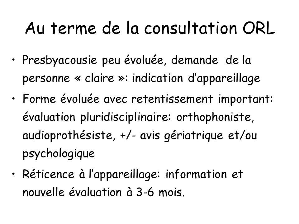 Au terme de la consultation ORL Presbyacousie peu évoluée, demande de la personne « claire »: indication dappareillage Forme évoluée avec retentisseme