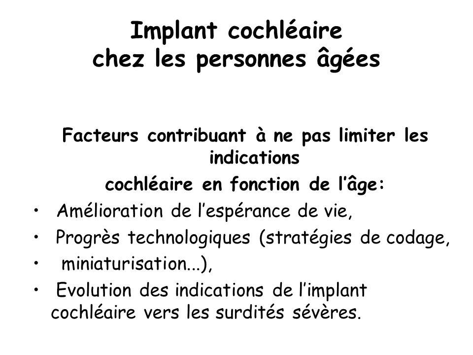 Implant cochléaire chez les personnes âgées Facteurs contribuant à ne pas limiter les indications cochléaire en fonction de lâge: Amélioration de lesp