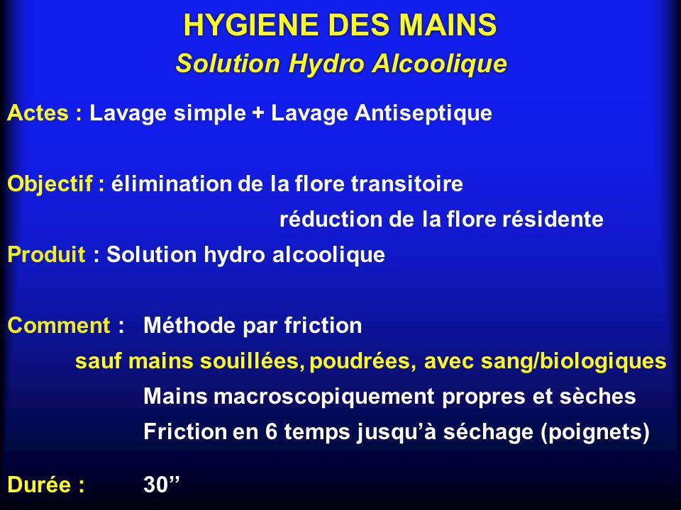 Actes : Lavage simple + Lavage Antiseptique Objectif : élimination de la flore transitoire réduction de la flore résidente Produit : Solution hydro al