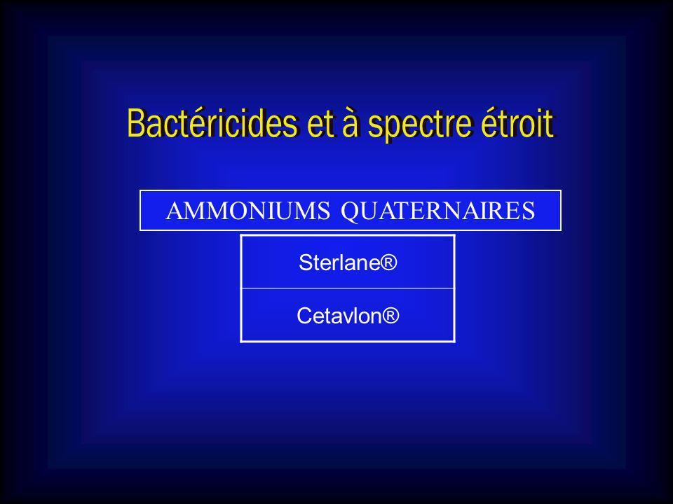 CARBANILIDES DIAMIDINES ACIDES DÉRIVÉS MÉTALLIQUES Triclocarban Solubacter®, Septivon®, Nobacter® Hexamidine Hexomédine ® Acide borique (PRÉPARATION) Acide salicylique ( PRÉPARATION & DERMACIDE®) Nitrate dargentSulfate de cuivreSulfate de zinc DIAMIDINES