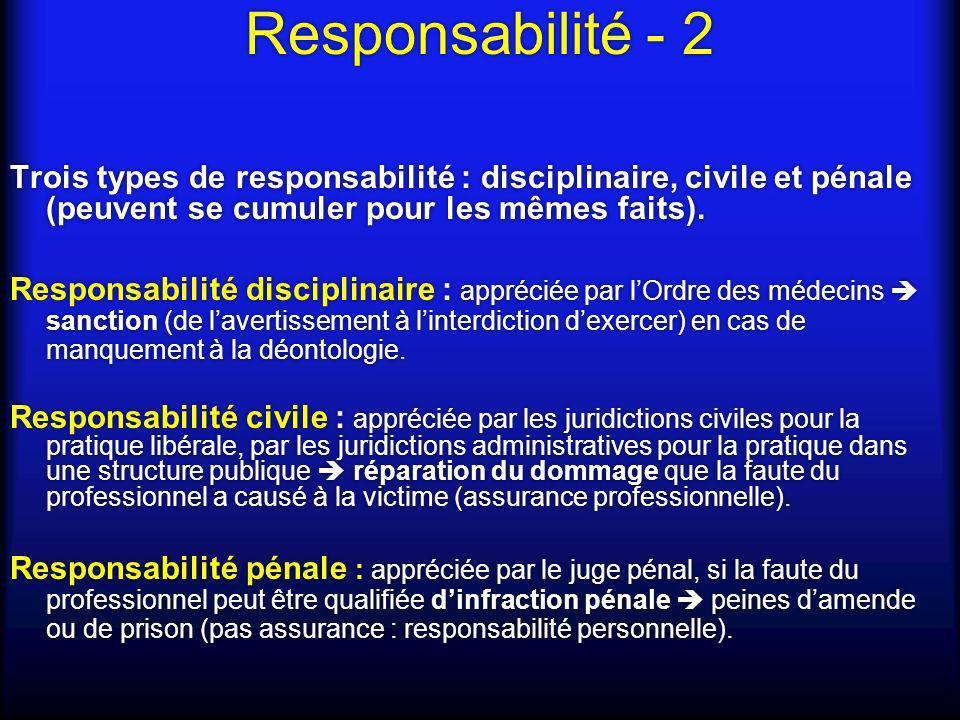 Responsabilité – 3 Loi du 4 mars 2002 (« Kouchner ») relative aux droits du malade et à la qualité du système de santé : responsabilités disciplinaires et civiles ré- aménagées par la loi du 4 mars 2002 cf.