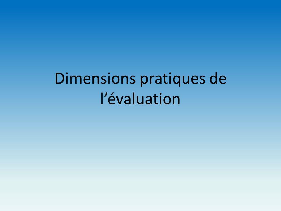 Dimensions pratiques de lévaluation
