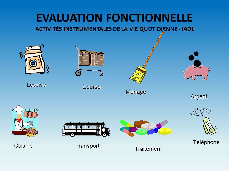 EVALUATION FONCTIONNELLE ACTIVITÉS INSTRUMENTALES DE LA VIE QUOTIDIENNE - IADL Lessive Ménage Transport Téléphone Cuisine Course Argent Traitement