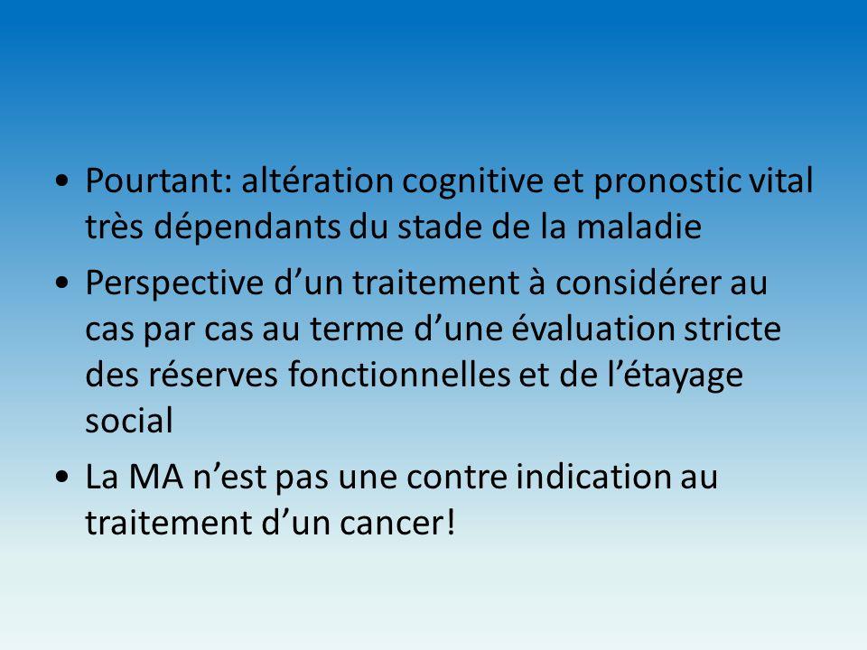 Pourtant: altération cognitive et pronostic vital très dépendants du stade de la maladie Perspective dun traitement à considérer au cas par cas au ter