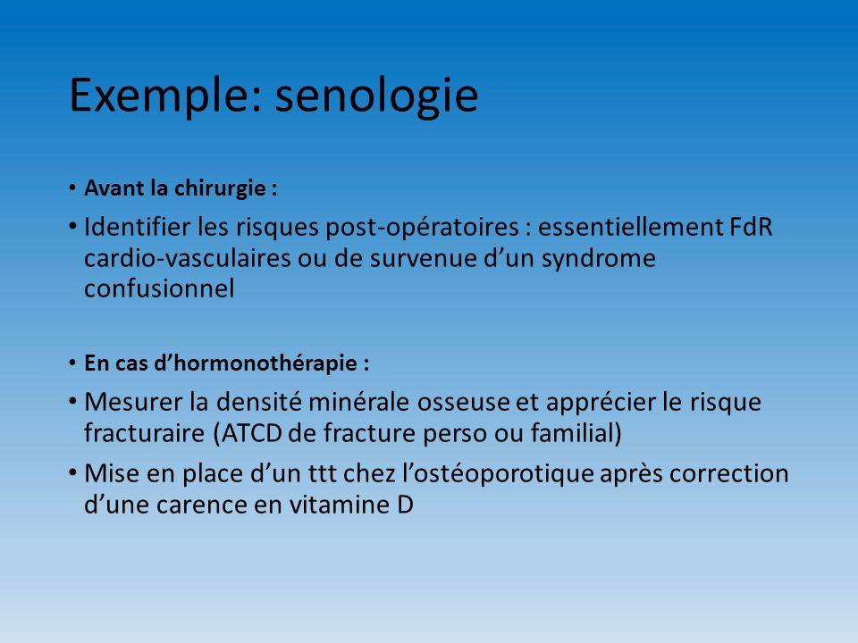 Exemple: senologie Avant la chirurgie : Identifier les risques post-opératoires : essentiellement FdR cardio-vasculaires ou de survenue dun syndrome c