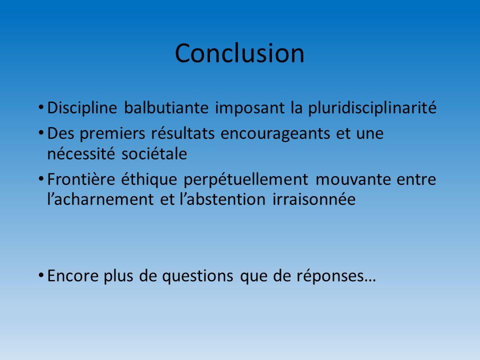 Conclusion Discipline balbutiante imposant la pluridisciplinarité Des premiers résultats encourageants et une nécessité sociétale Frontière éthique pe