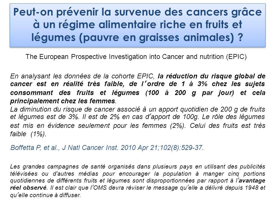 Peut-on prévenir la survenue des cancers grâce à un régime alimentaire riche en fruits et légumes (pauvre en graisses animales) ? The European Prospec