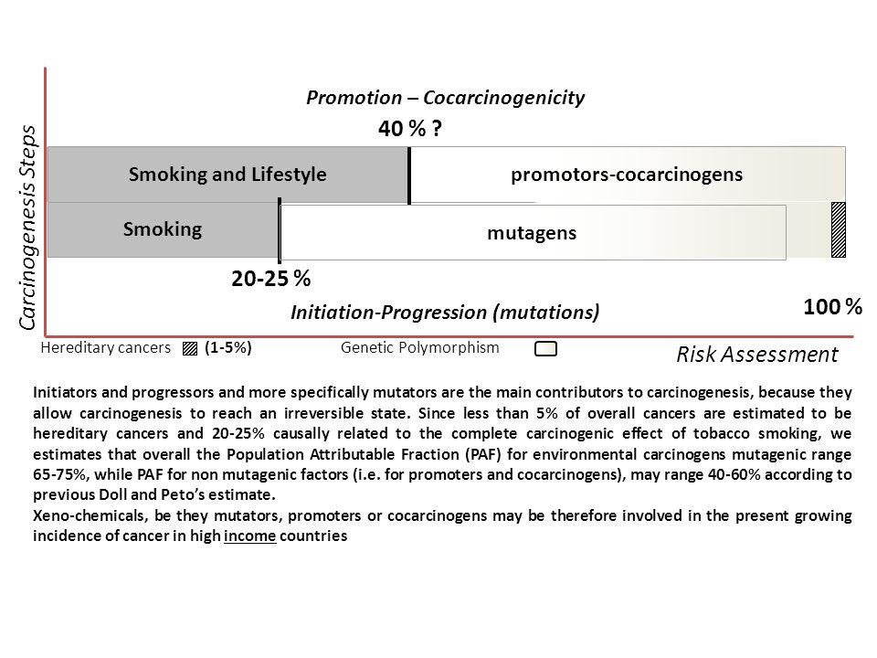 Initiation-Progression (mutations) Promotion – Cocarcinogenicity Smoking and Lifestylepromotors-cocarcinogens Smoking 40 % ? 20-25 % 100 % Carcinogene