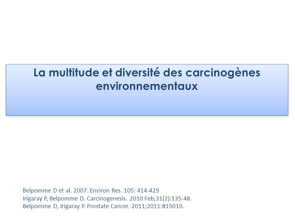 La multitude et diversité des carcinogènes environnementaux Belpomme D et al. 2007. Environ Res. 105: 414-429 Irigaray P, Belpomme D. Carcinogenesis.