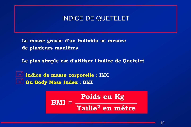 10 INDICE DE QUETELET La masse grasse d'un individu se mesure de plusieurs manières Le plus simple est d'utiliser l'indice de Quetelet Indice de masse